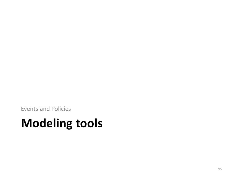 Modeling tools Events and Policies 95