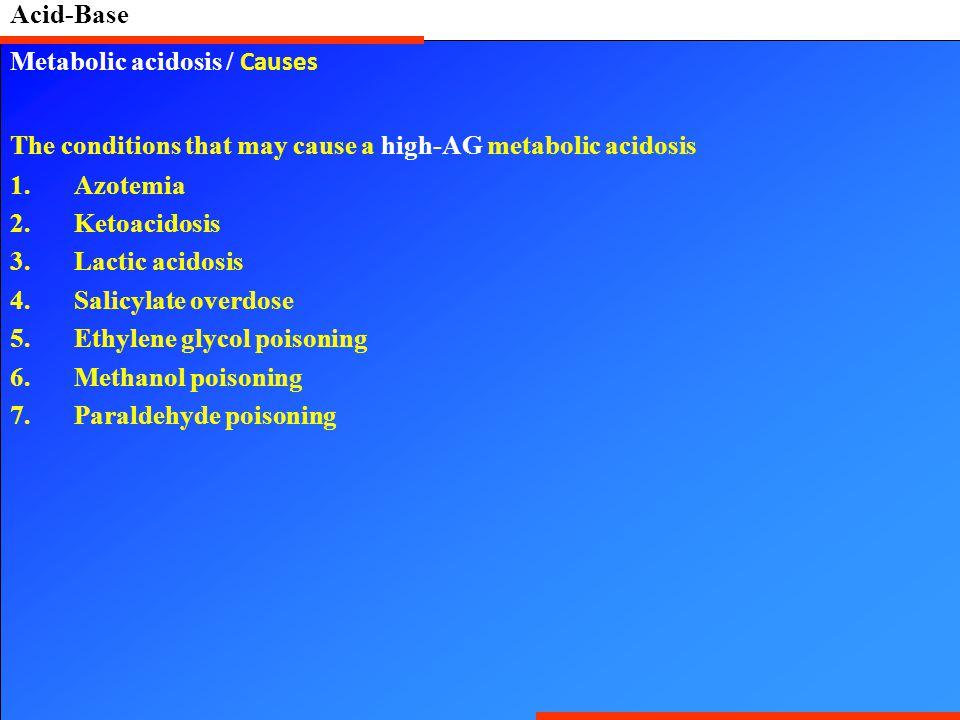 Acid-Base Metabolic acidosis / Causes The conditions that may cause a high-AG metabolic acidosis 1.Azotemia 2.Ketoacidosis 3.Lactic acidosis 4.Salicylate overdose 5.Ethylene glycol poisoning 6.Methanol poisoning 7.Paraldehyde poisoning