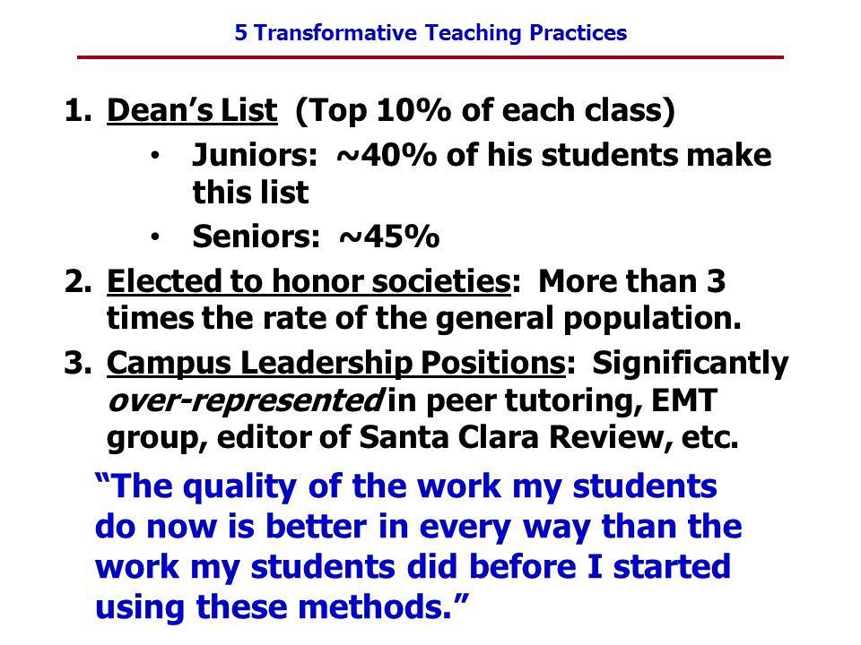 5 Transformative Teaching Practices 1.Dean's List (Top 10% of each class) Juniors: ~40% of his students make this list Seniors: ~45% 2.Elected to hono