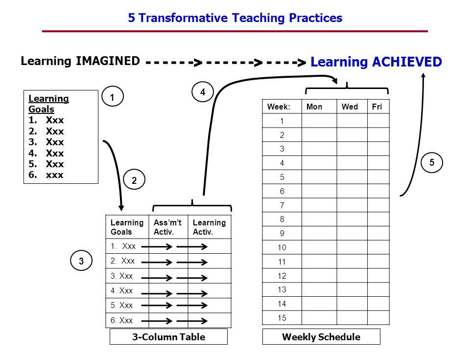 5 Transformative Teaching Practices 1 2 Learning Goals 1.Xxx 2.Xxx 3.Xxx 4.Xxx 5.Xxx 6.xxx Learning Goals Ass'm't Activ. Learning Activ. 1.Xxx 2. Xxx