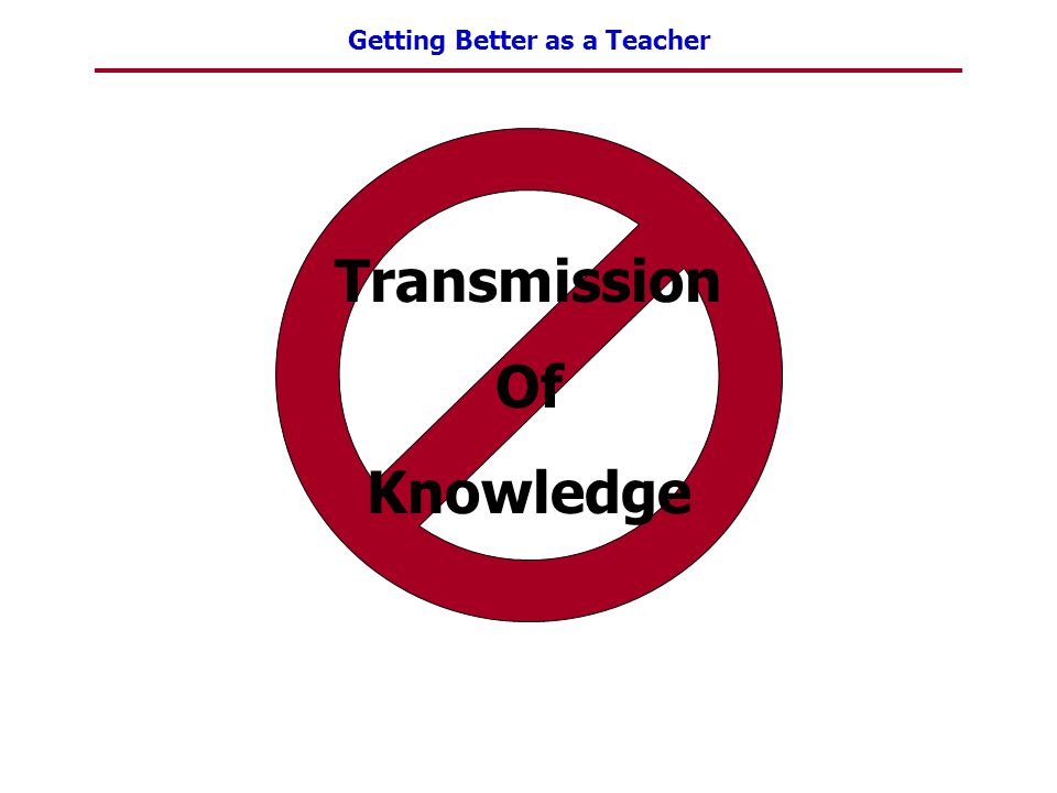 Getting Better as a Teacher Transmission Of Knowledge