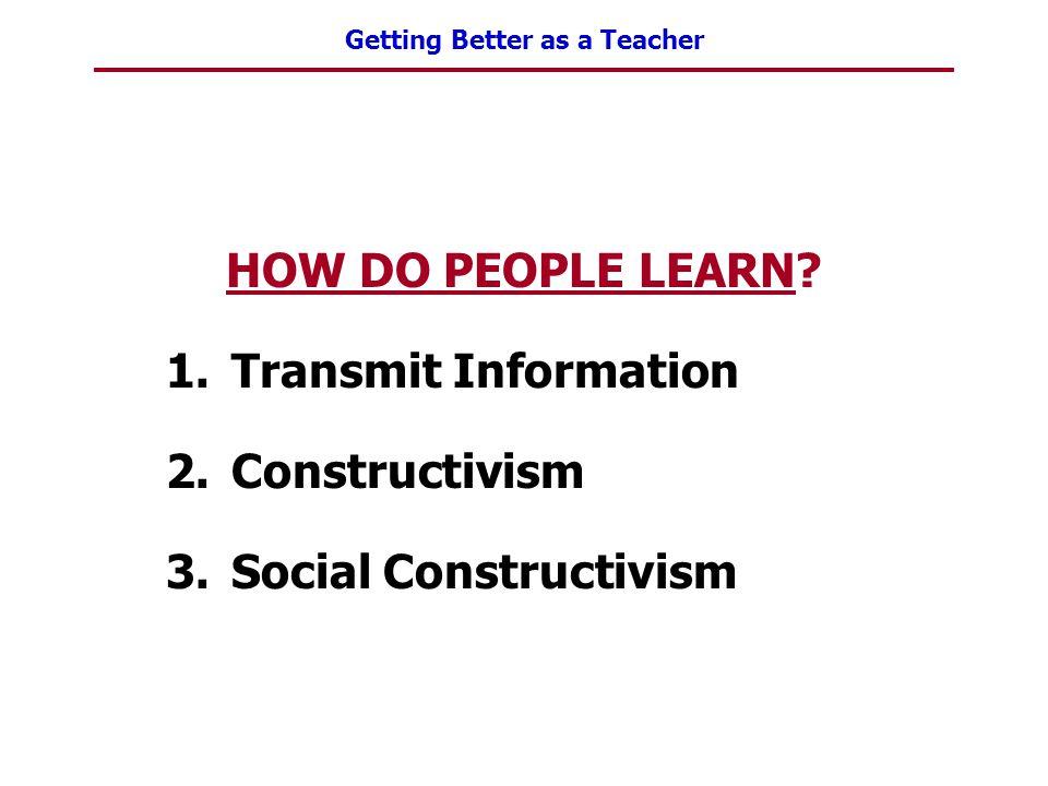 Getting Better as a Teacher HOW DO PEOPLE LEARN? 1.Transmit Information 2.Constructivism 3.Social Constructivism