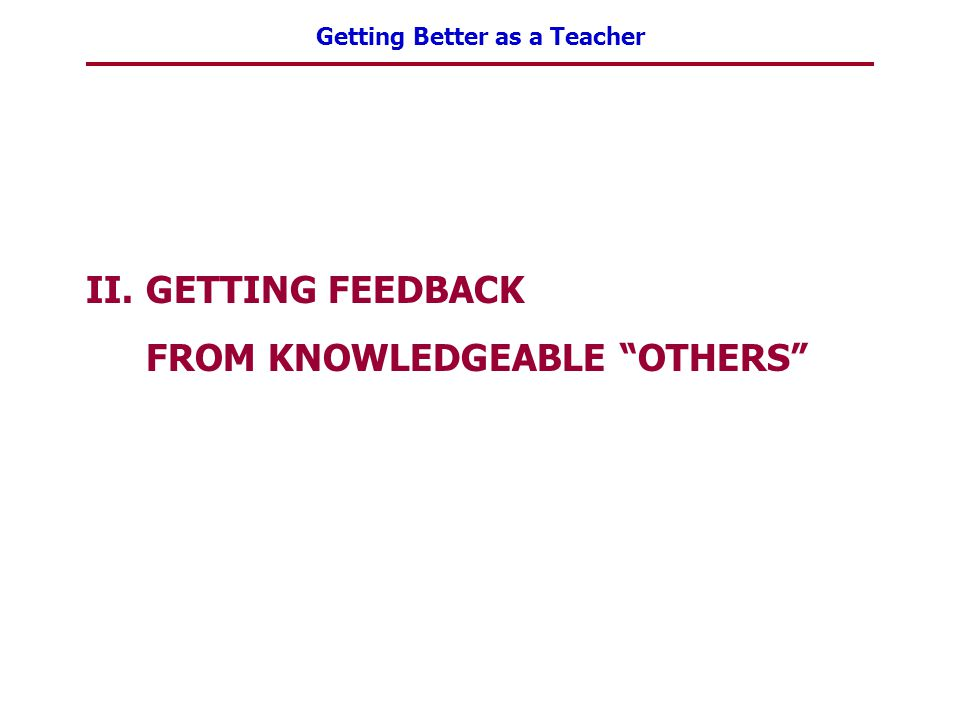 """Getting Better as a Teacher II.GETTING FEEDBACK FROM KNOWLEDGEABLE """"OTHERS"""""""