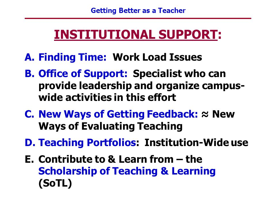 Getting Better as a Teacher INSTITUTIONAL SUPPORT: A.Finding Time: Work Load Issues B.Office of Support: Specialist who can provide leadership and org