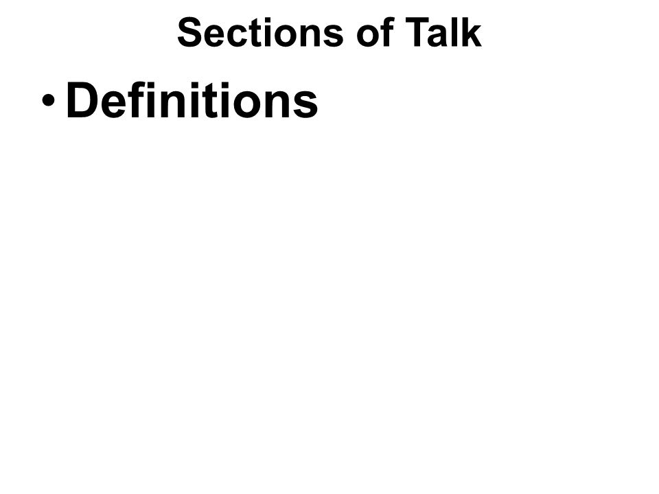 Sections of Talk Definitions