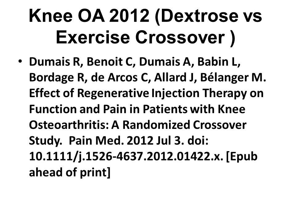 Knee OA 2012 (Dextrose vs Exercise Crossover ) Dumais R, Benoit C, Dumais A, Babin L, Bordage R, de Arcos C, Allard J, Bélanger M.