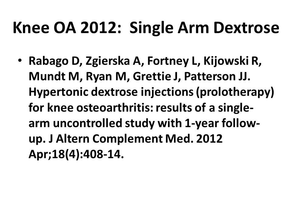Knee OA 2012: Single Arm Dextrose Rabago D, Zgierska A, Fortney L, Kijowski R, Mundt M, Ryan M, Grettie J, Patterson JJ.