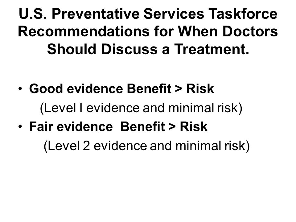 U.S. Preventative Services Taskforce Recommendations for When Doctors Should Discuss a Treatment.