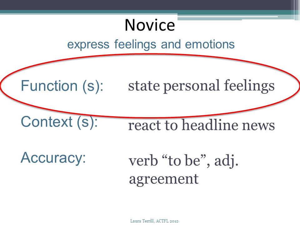 """Novice express feelings and emotions Function (s): Context (s): Accuracy: state personal feelings react to headline news verb """"to be"""", adj. agreement"""