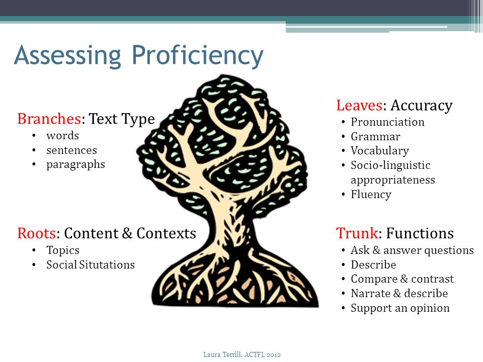 Roots: Content & Contexts Topics Social Situtations Trunk: Functions Ask & answer questions Describe Compare & contrast Narrate & describe Support an