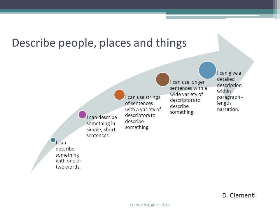 D. Clementi Describe people, places and things Laura Terrill, ACTFL 2012
