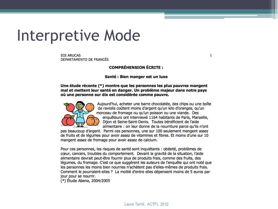 Interpretive Mode Laura Terrill, ACTFL 2012