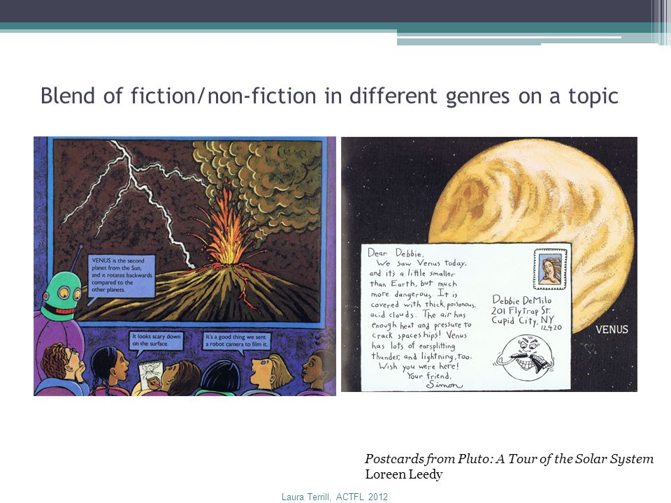 Blend of fiction/non-fiction in different genres on a topic Postcards from Pluto: A Tour of the Solar System Loreen Leedy Laura Terrill, ACTFL 2012