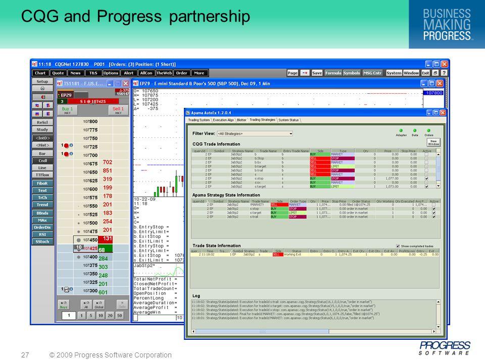 © 2009 Progress Software Corporation27 CQG and Progress partnership