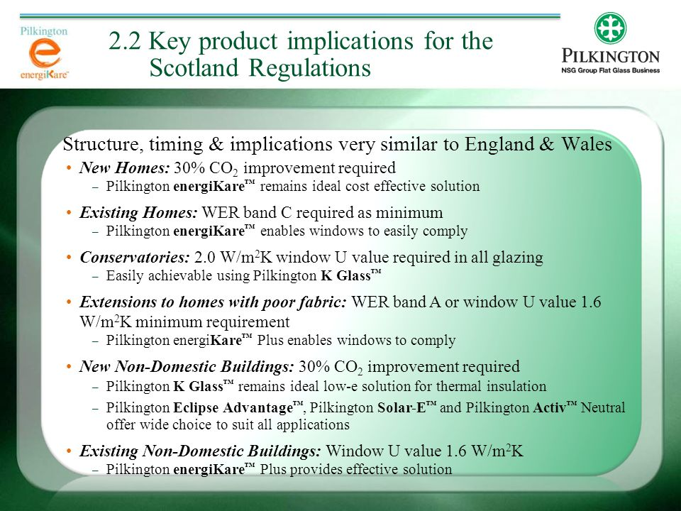 Structure, timing & implications very similar to England & Wales 2.2 Key product implications for the Scotland Regulations New Homes: 30% CO 2 improvement required – Pilkington energiKare ™ remains ideal cost effective solution Existing Homes: WER band C required as minimum – Pilkington energiKare ™ enables windows to easily comply Conservatories: 2.0 W/m 2 K window U value required in all glazing – Easily achievable using Pilkington K Glass ™ Extensions to homes with poor fabric: WER band A or window U value 1.6 W/m 2 K minimum requirement – Pilkington energiKare ™ Plus enables windows to comply New Non-Domestic Buildings: 30% CO 2 improvement required – Pilkington K Glass ™ remains ideal low-e solution for thermal insulation – Pilkington Eclipse Advantage ™, Pilkington Solar-E ™ and Pilkington Activ ™ Neutral offer wide choice to suit all applications Existing Non-Domestic Buildings: Window U value 1.6 W/m 2 K – Pilkington energiKare ™ Plus provides effective solution