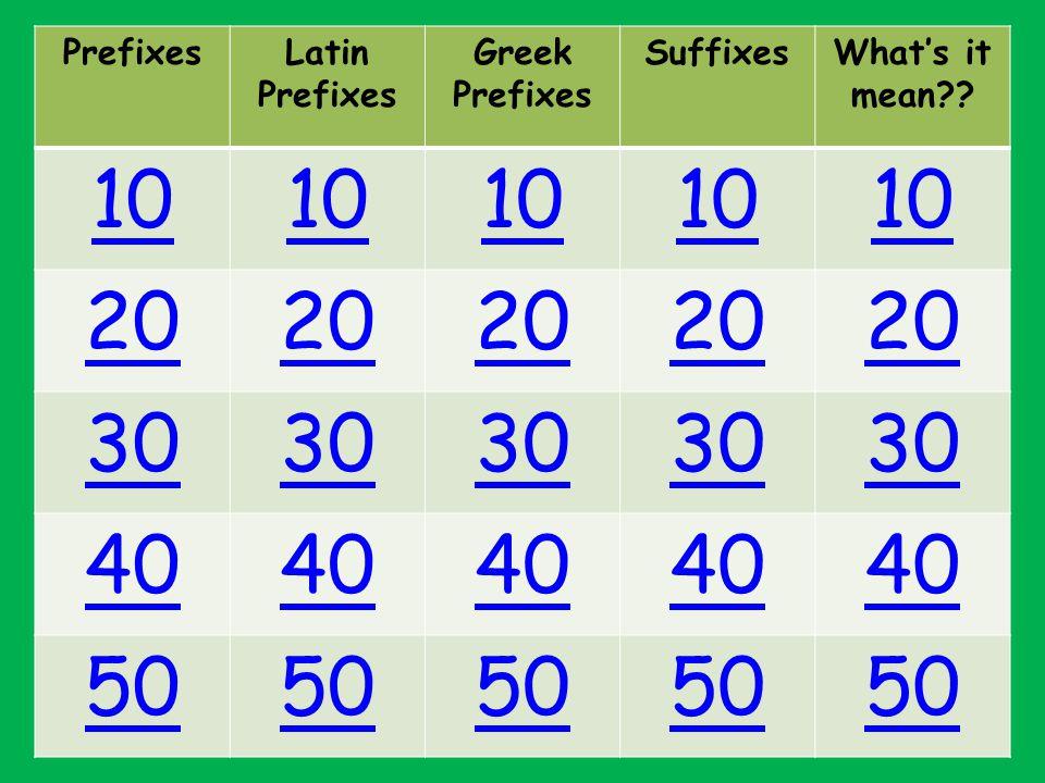 PrefixesLatin Prefixes Greek Prefixes SuffixesWhat's it mean 10 20 30 40 50