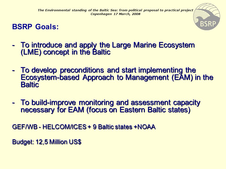 Major Threats to the Baltic Eutrophication Overfishing Chemical pollution Biological diversity All caused by Human Behaviour
