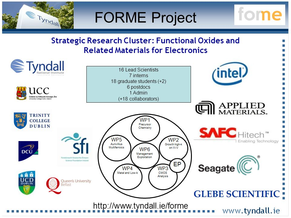 16 Strategic Research Cluster: Functional Oxides and Related Materials for Electronics 16 Lead Scientists 7 interns 18 graduate students (+2) 6 postdocs 1 Admin (+18 collaborators) http://www.tyndall.ie/forme FORME Project