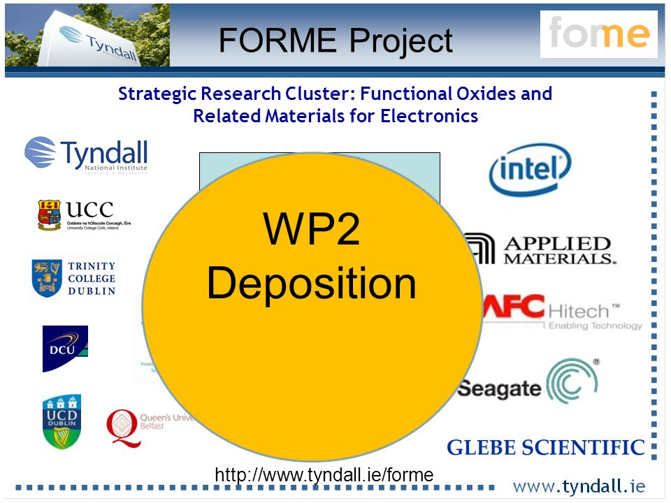 18 Strategic Research Cluster: Functional Oxides and Related Materials for Electronics 16 Lead Scientists 7 interns 18 graduate students (+2) 6 postdocs 1 Admin (+18 collaborators) http://www.tyndall.ie/forme FORME Project WP2 Deposition
