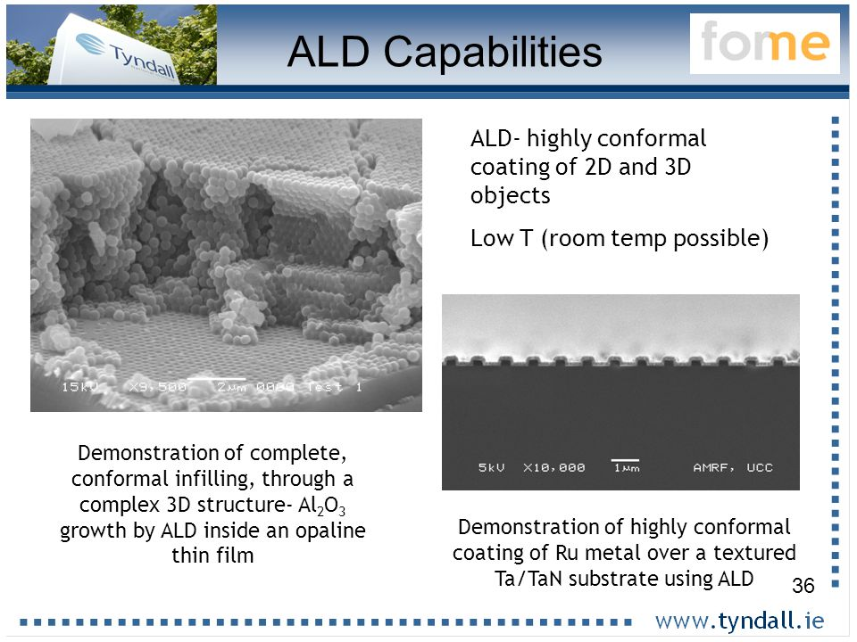36 Demonstration of complete, conformal infilling, through a complex 3D structure- Al 2 O 3 growth by ALD inside an opaline thin film Demonstration of highly conformal coating of Ru metal over a textured Ta/TaN substrate using ALD ALD- highly conformal coating of 2D and 3D objects Low T (room temp possible) ALD Capabilities