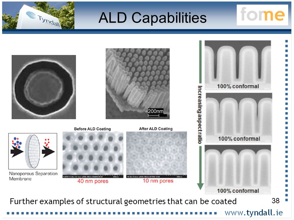 38 Further examples of structural geometries that can be coated ALD Capabilities