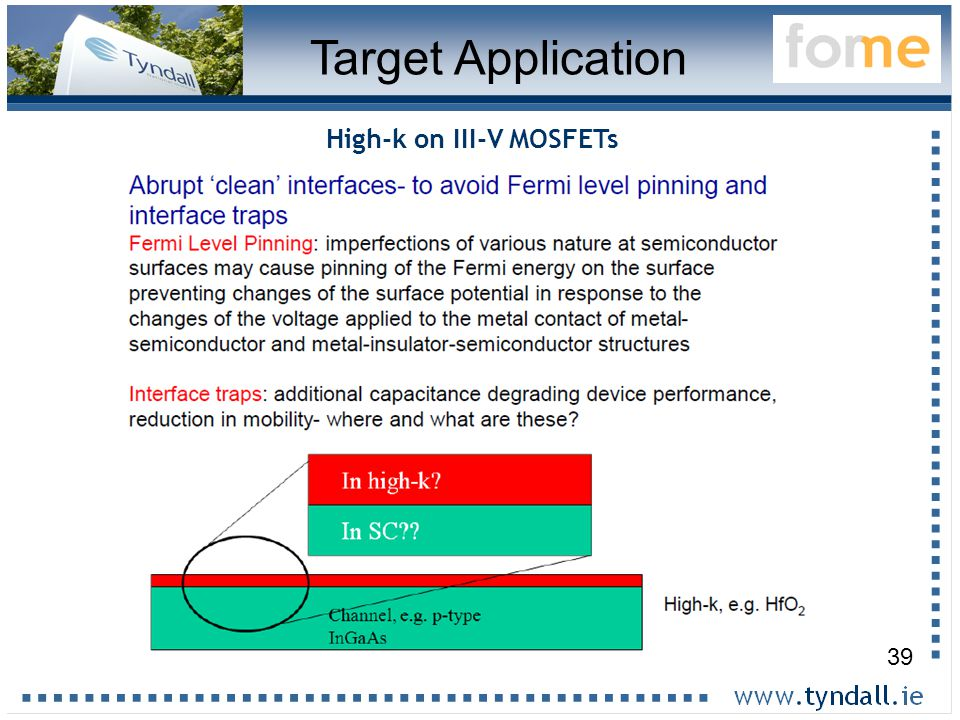 39 Target Application High-k on III-V MOSFETs