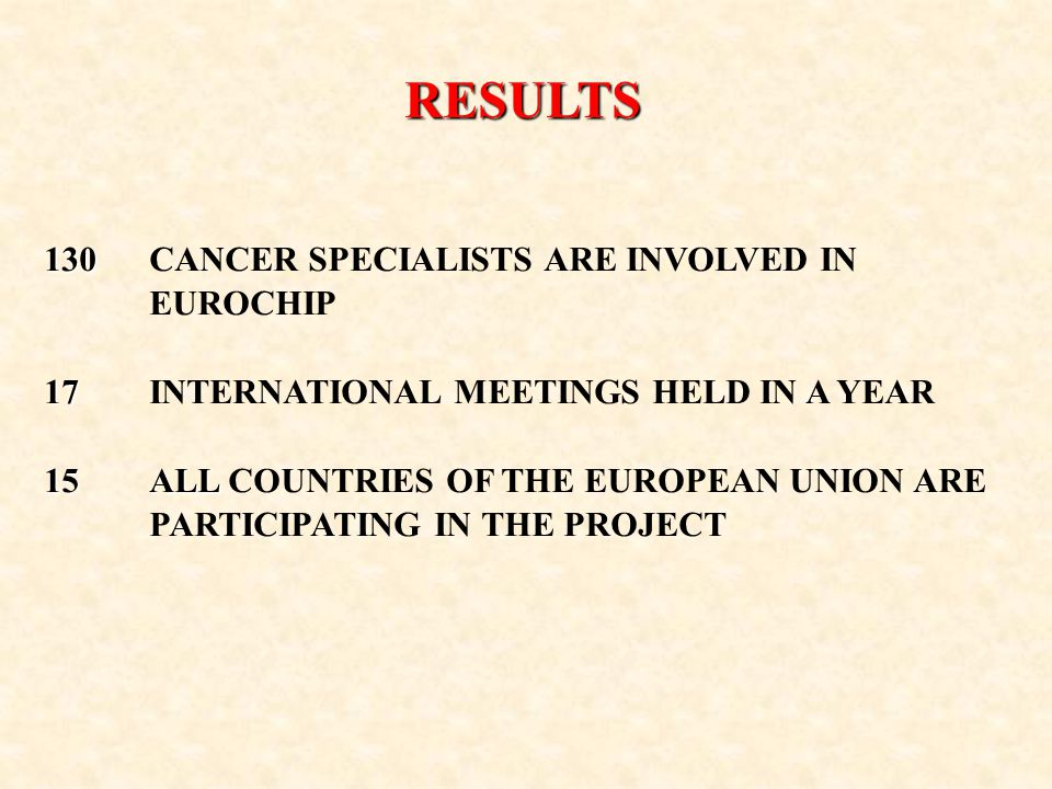 RESULTS PRELIMINARY LIST OF 158 INDICATORS 38 38 INDICATORS AT HIGH PRIORITY EUROCHIP MEETINGS