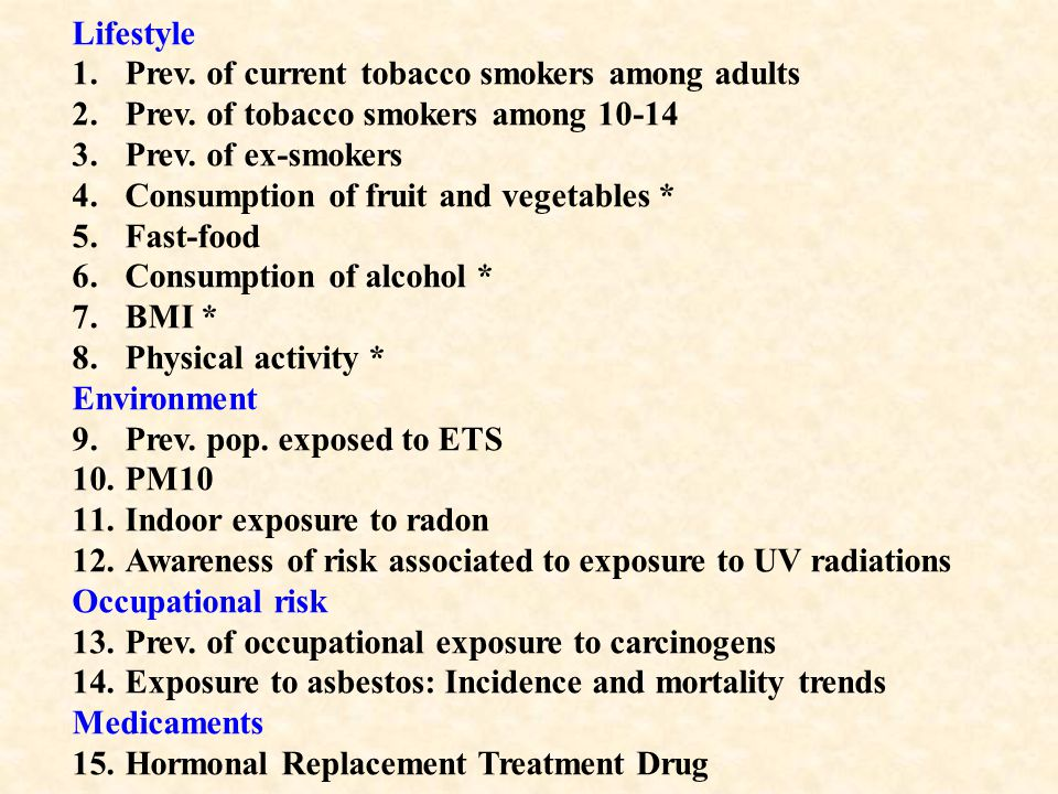 Lifestyle 1.Prev. of current tobacco smokers among adults 2.Prev.