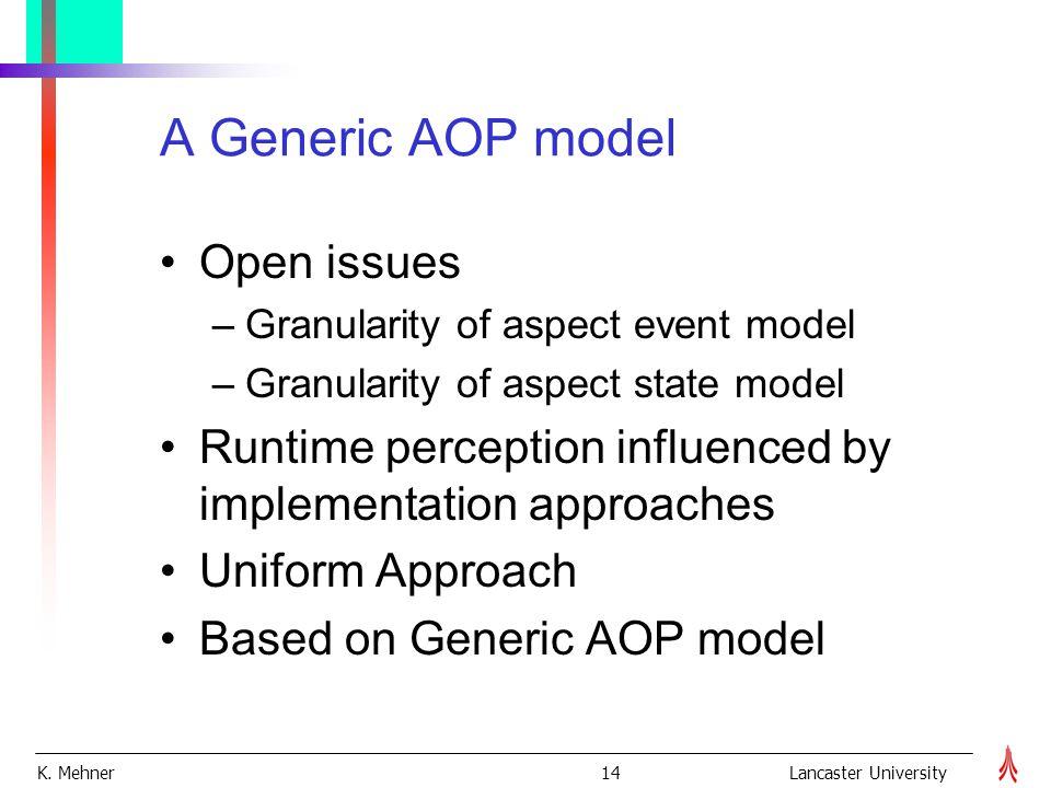 K. Mehner 14Lancaster University A Generic AOP model Open issues –Granularity of aspect event model –Granularity of aspect state model Runtime percept