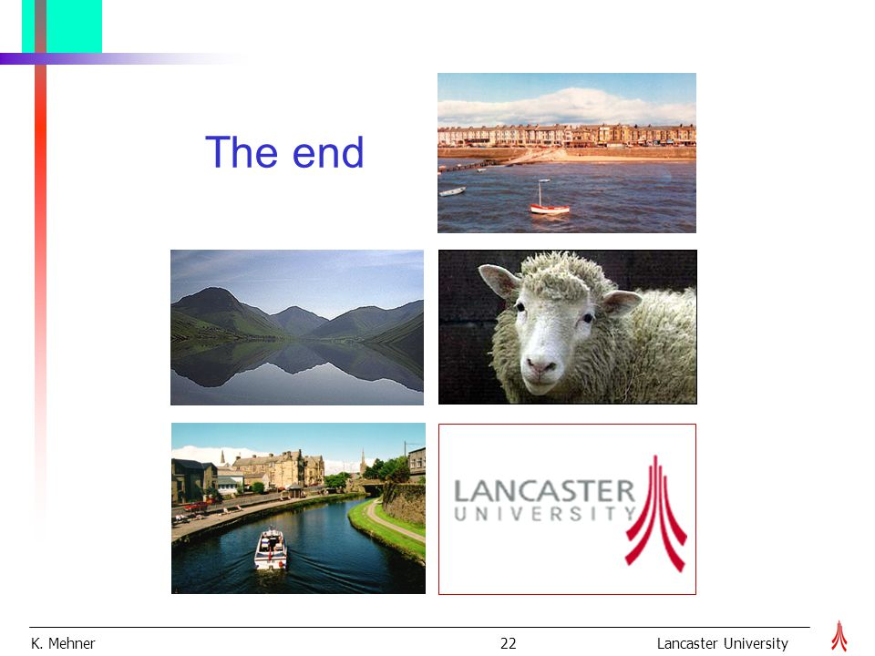 K. Mehner 22Lancaster University The end
