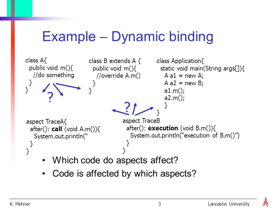 K. Mehner 3Lancaster University Example – Dynamic binding class B extends A { public void m(){ //override A.m() } class Application{ static void main(