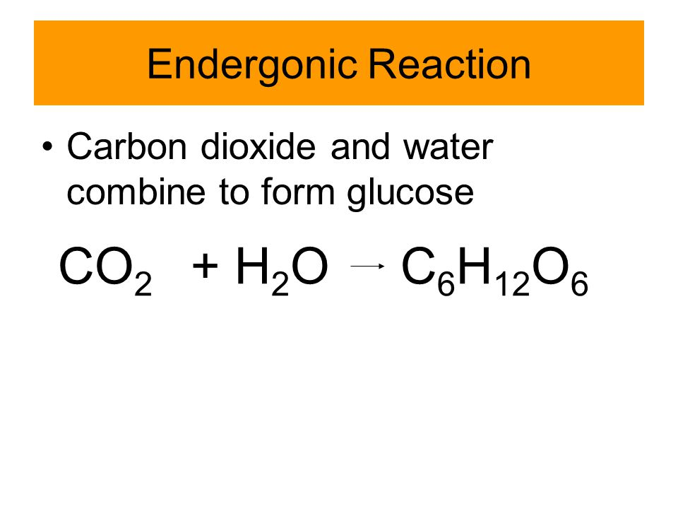 Endergonic Reaction The products have more energy than the reactants Requires an input of energy Usually in the form of ATP