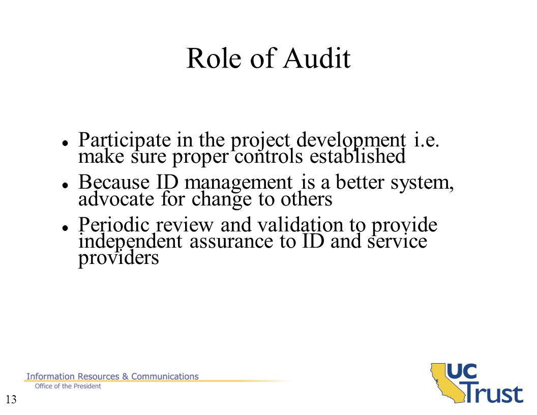 13 Role of Audit Participate in the project development i.e.