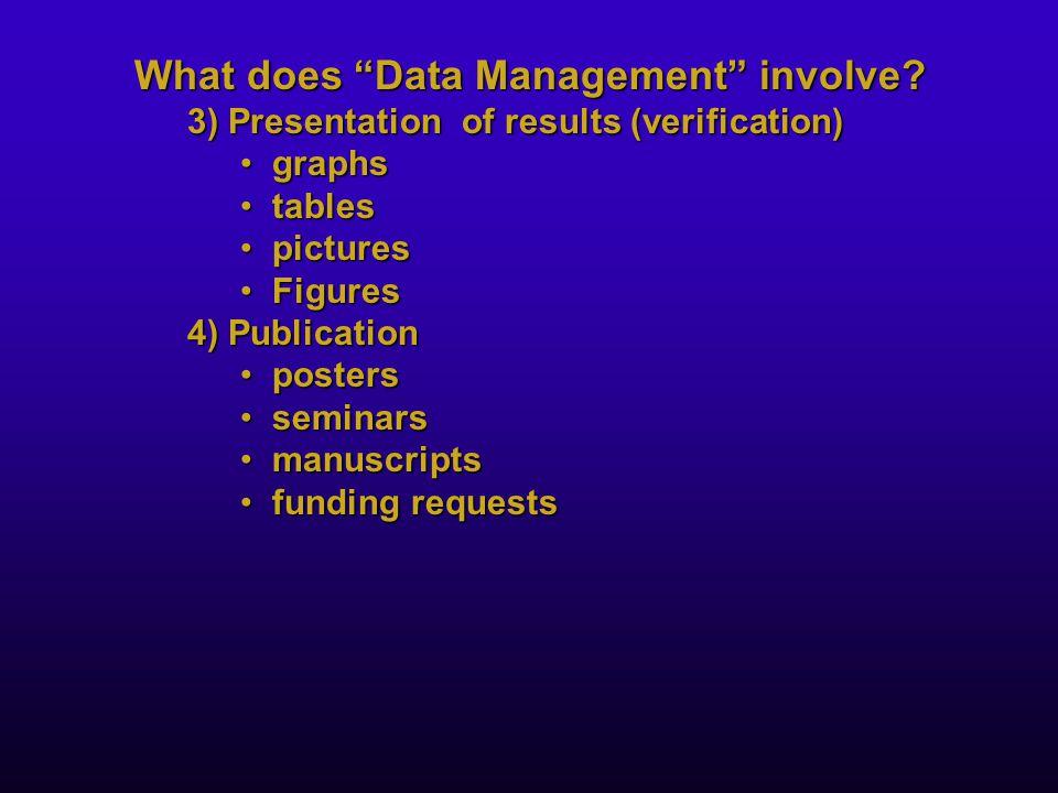 "What does ""Data Management"" involve? 3) Presentation of results (verification) graphsgraphs tablestables picturespictures FiguresFigures 4) Publicatio"