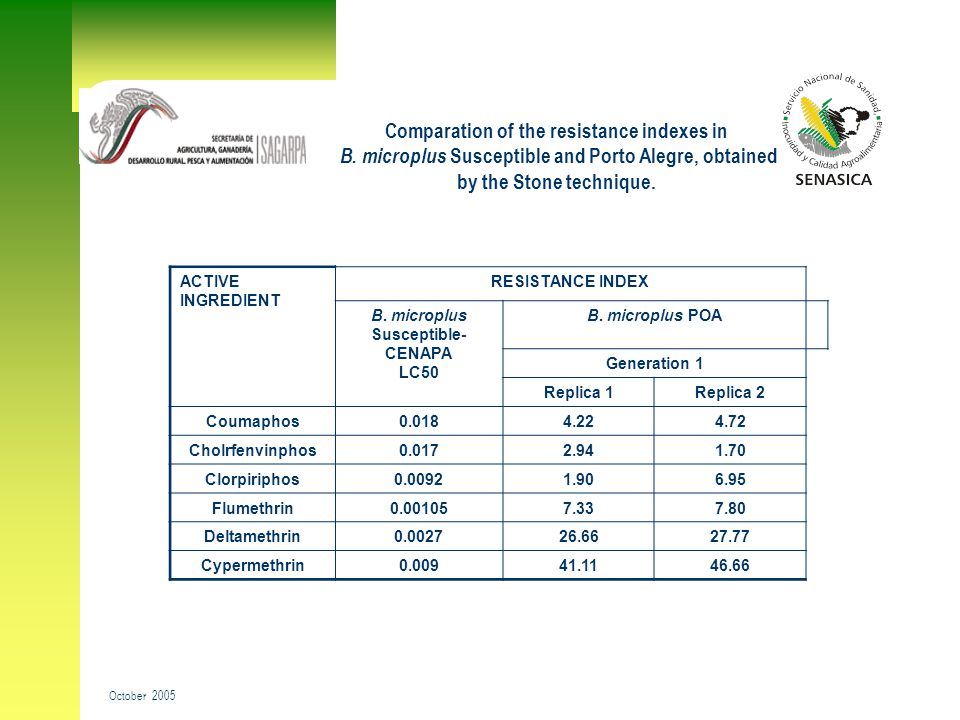 Comparation of the resistance indexes in B. microplus Susceptible and Porto Alegre, obtained by the Stone technique. October 2005 ACTIVE INGREDIENT RE