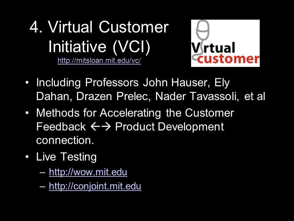 4. Virtual Customer Initiative (VCI) http://mitsloan.mit.edu/vc/ http://mitsloan.mit.edu/vc/ Including Professors John Hauser, Ely Dahan, Drazen Prele