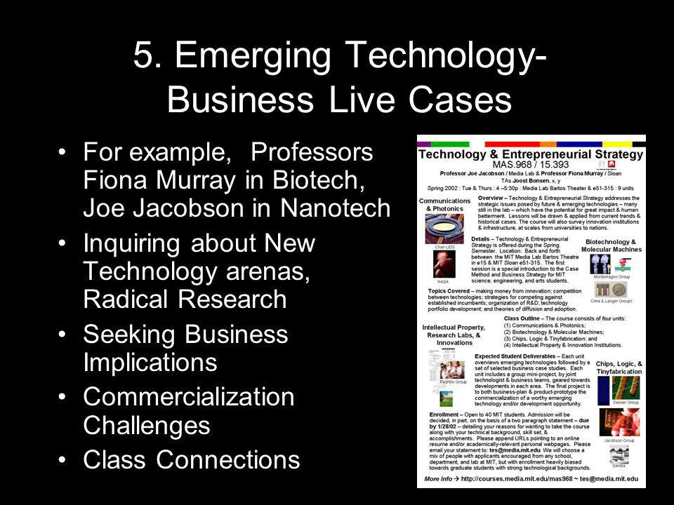 5. Emerging Technology- Business Live Cases For example, Professors Fiona Murray in Biotech, Joe Jacobson in Nanotech Inquiring about New Technology a