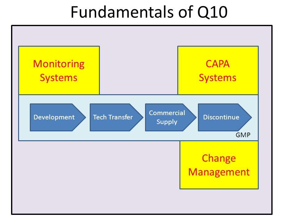 manag Fundamentals of Q10 DevelopmentTech TransferDiscontinue Commercial Supply Monitoring Systems CAPA Systems Change Management GMP