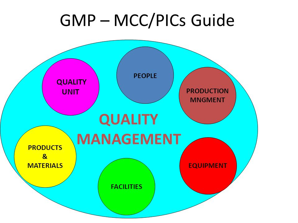 QUALITY MANAGEMENT GMP – MCC/PICs Guide PRODUCTS & MATERIALS FACILITIES QUALITY UNIT EQUIPMENT PRODUCTION MNGMENT PEOPLE