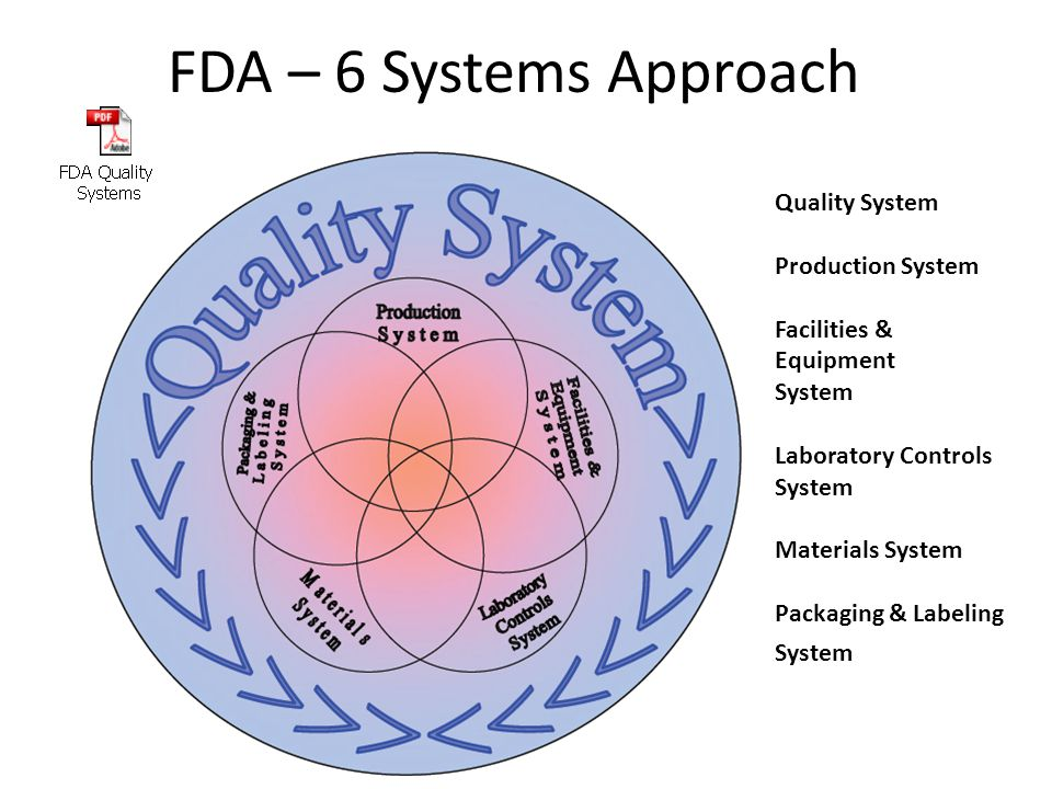 FDA – 6 Systems Approach Quality System Production System Facilities & Equipment System Laboratory Controls System Materials System Packaging & Labeling System