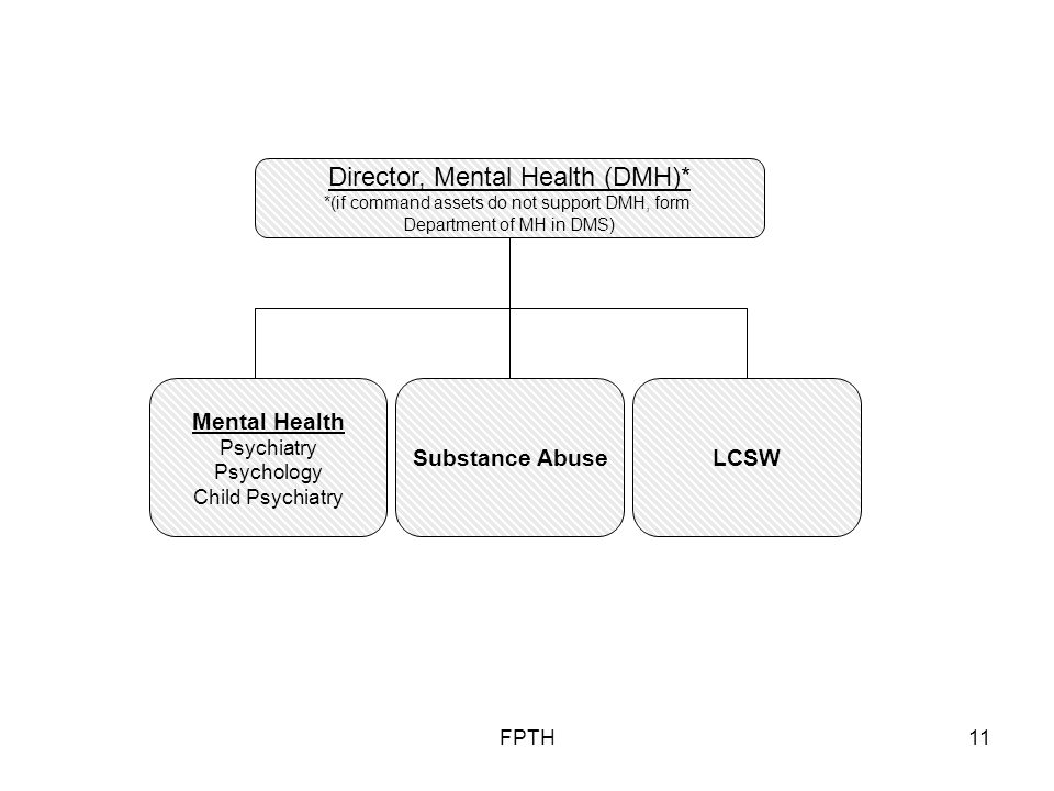 FPTH11 Substance Abuse Mental Health Psychiatry Psychology Child Psychiatry Director, Mental Health (DMH)* *(if command assets do not support DMH, form Department of MH in DMS) LCSW