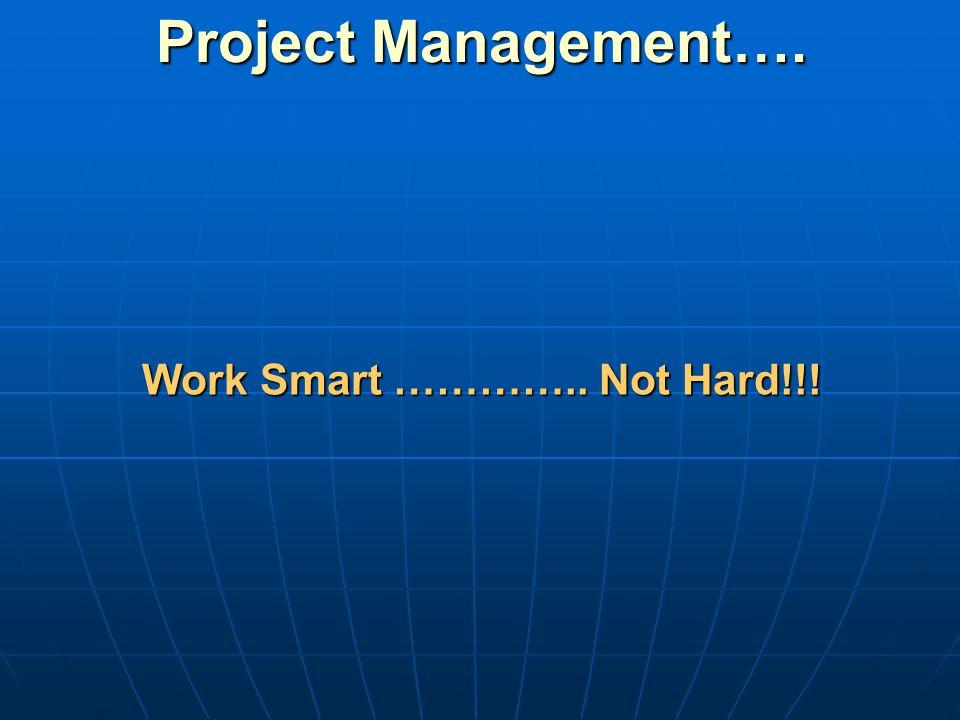 Project Management…. Work Smart ………….. Not Hard!!!