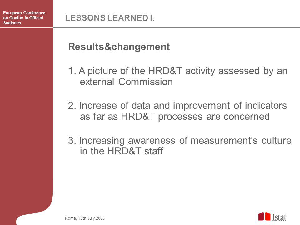LESSONS LEARNED I. Results&changement 1.