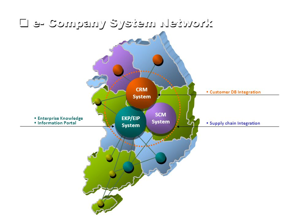  e- Company System Network SCM System SCM System EKP/EIP System EKP/EIP System CRM System CRM System Supply chain Integration Enterprise Knowledge Information Portal Customer DB Integration