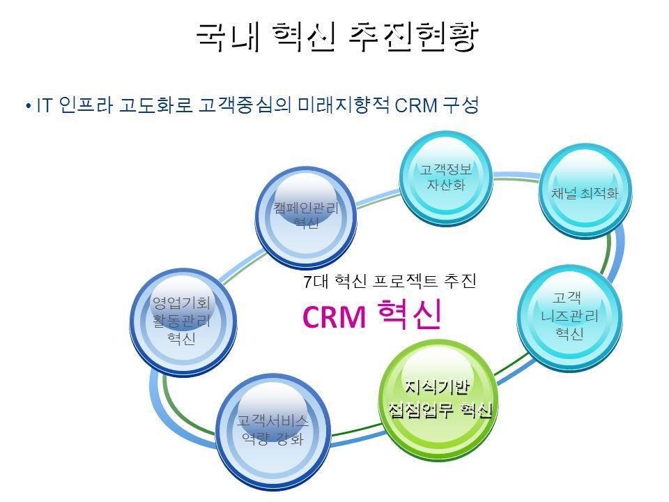 영업기회 활동관리 혁신 캠페인관리 혁신 고객서비스 역량 강화 IT 인프라 고도화로 고객중심의 미래지향적 CRM 구성 7 대 혁신 프로젝트 추진 국내 혁신 추진현황 채널 최적화 고객 니즈관리 혁신 고객정보 자산화 지식기반 접점업무 혁신 지식기반 접점업무 혁신