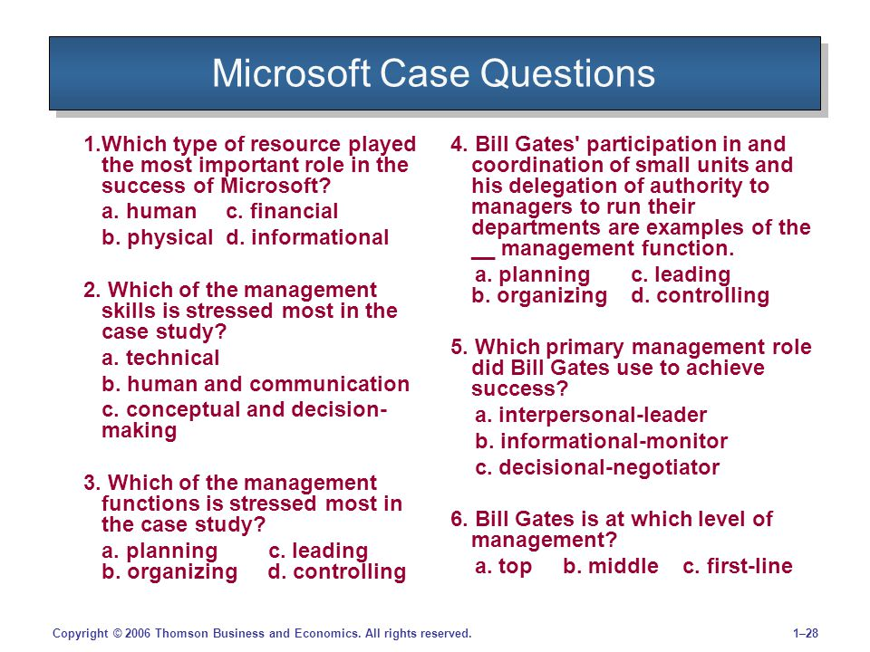 1–28Copyright © 2006 Thomson Business and Economics. All rights reserved. Microsoft Case Questions 1.Which type of resource played the most important