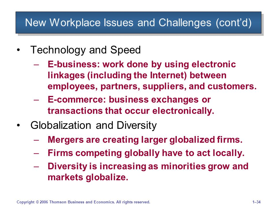 1–34Copyright © 2006 Thomson Business and Economics. All rights reserved. New Workplace Issues and Challenges (cont'd) Technology and Speed –E-busines