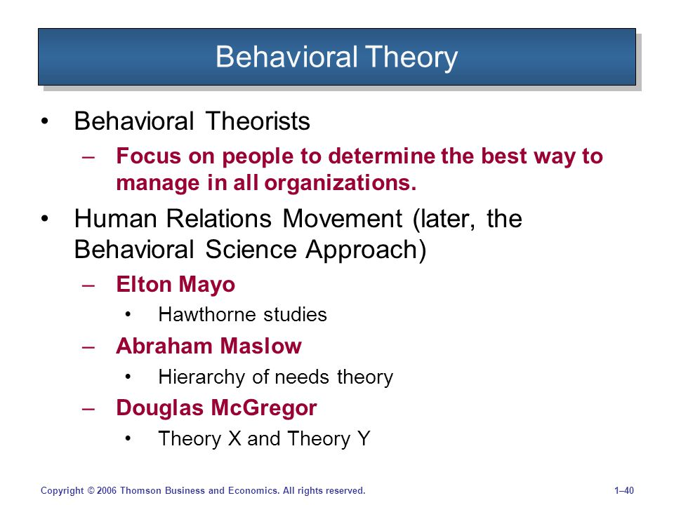 1–40Copyright © 2006 Thomson Business and Economics. All rights reserved. Behavioral Theory Behavioral Theorists –Focus on people to determine the bes