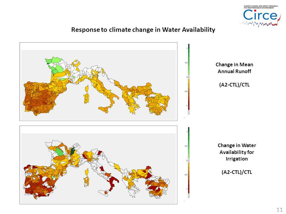 Response to climate change in Water Availability Change in Water Availability for Irrigation (A2-CTL)/CTL Change in Mean Annual Runoff (A2-CTL)/CTL 11