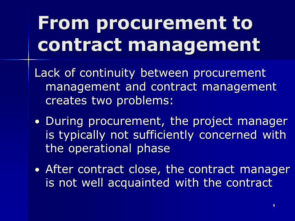 40 Summary (1) Appoint the contract manager at an early stage Appoint the contract manager at an early stage Consider carefully the profile of the contract manager Consider carefully the profile of the contract manager Budget for contract management activities Budget for contract management activities Plan the staffing for contract management activities Plan the staffing for contract management activities